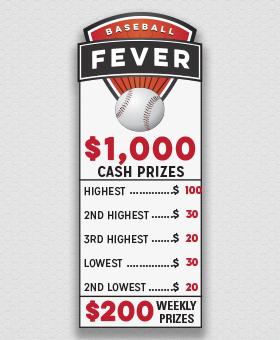Baseball Fever Cash Prizes #CashPrizes GreenBeeFundraising.com
