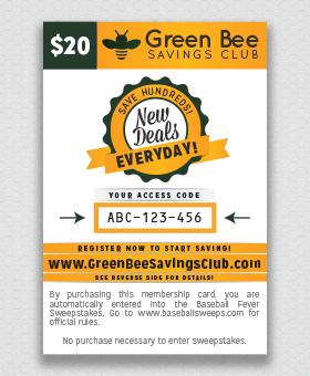 Green Bee Savings Club Card #GBFundraising GreenBeeFundraising.com