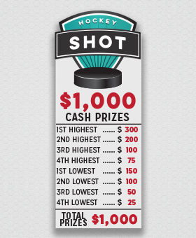 Hockey Shot Fundraiser Cash Prize List #CashPrizes #Money GreenBeeFundraising.com
