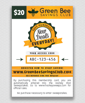 Hockey Shot Fundraiser, Green Bee Savings Club Card #DiscountCard GreenBeeFundraising.com