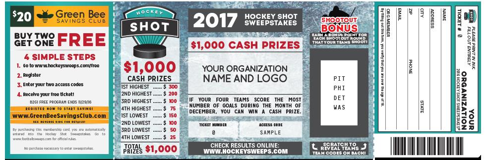 Hockey Shot Fundraiser Ticket #HockeyFundraising GreenBeeFundraising.com
