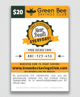 Legal Green Bee Fundraising - Savings Club Card